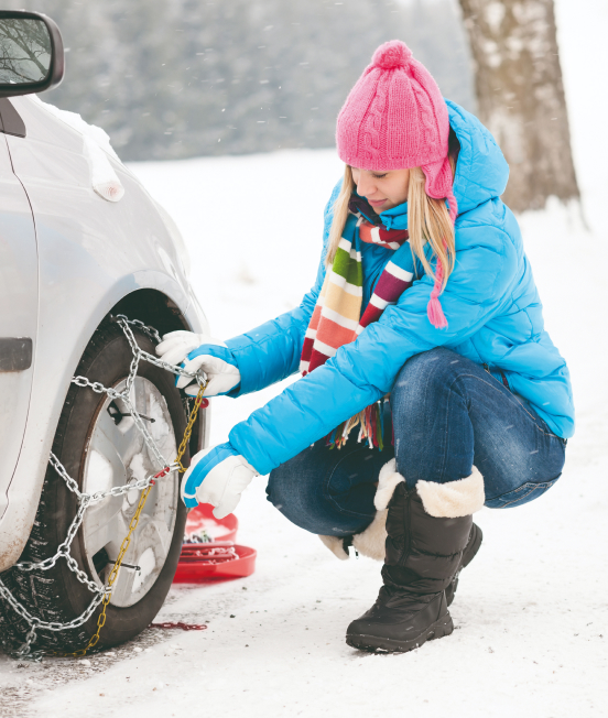 Snow chains for private cars